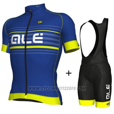 2018 Cycling Jersey ALE Blue and Yellow Short Sleeve and Bib Short