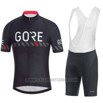 2018 Cycling Jersey Gore C3 Black Short Sleeve and Bib Short