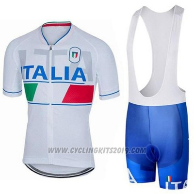 2018 Cycling Jersey Italy White Short Sleeve and Bib Short