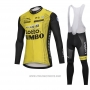 2018 Cycling Jersey Lotto NL Jumbo Yellow Long Sleeve and Bib Tight
