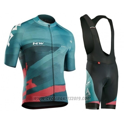 2018 Cycling Jersey Northwave Green Pink Short Sleeve and Bib Short