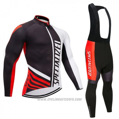 2018 Cycling Jersey Specialized Black Red White Long Sleeve and Bib Tight