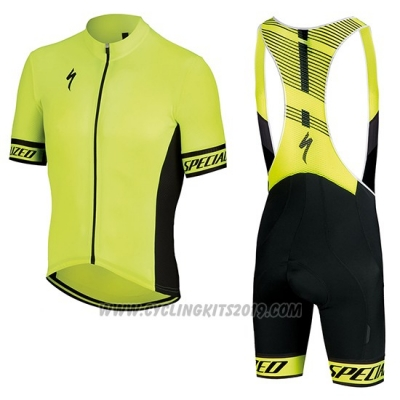 2018 Cycling Jersey Specialized Yellow Black Short Sleeve and Bib Short