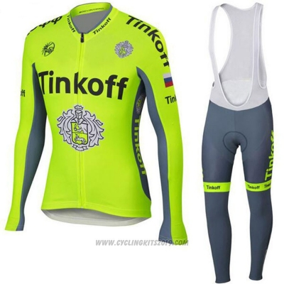 2018 Cycling Jersey Tinkoff Yellow Long Sleeve and Bib Tight