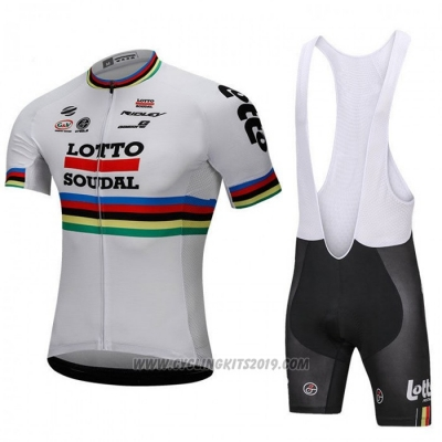 2018 Cycling Jersey UCI Mondo Campione Lotto Soudal White Short Sleeve and Bib Short