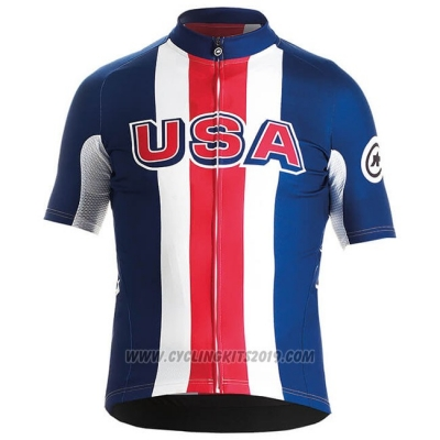 2018 Cycling Jersey USA Blue Red White Short Sleeve and Bib Short
