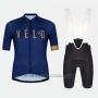 2018 Cycling Jersey Velo Blue Orange Short Sleeve and Bib Short