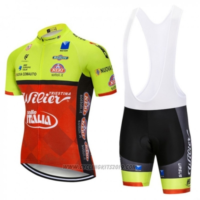 2018 Cycling Jersey Wieiev Green and Red Short Sleeve and Bib Short