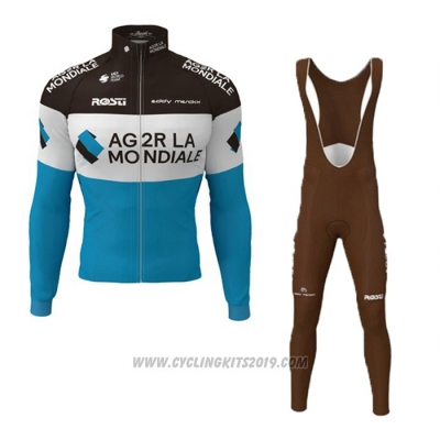 2019 Cycling Jersey Ag2r La Mondiale Black White Blue Long Sleeve and Bib Tight