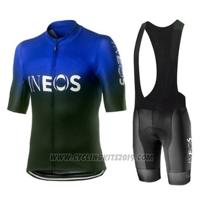 2019 Cycling Jersey Castelli Ineos Black Blue Short Sleeve and Bib Short
