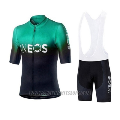 2019 Cycling Jersey Castelli Ineos Black Green Short Sleeve and Bib Short
