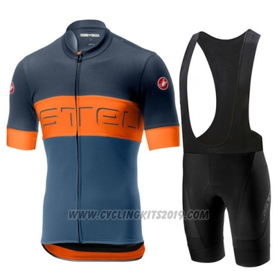 2019 Cycling Jersey Castelli Prologo 6 Gray Orange Short Sleeve and Bib Short