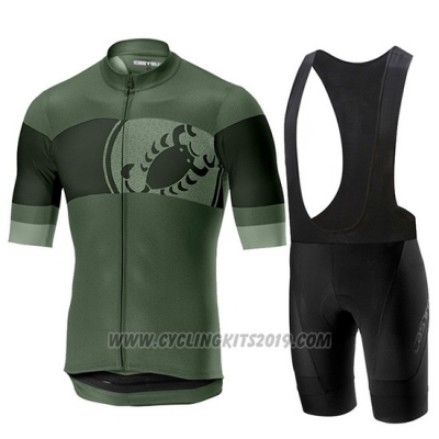 2019 Cycling Jersey Castelli Ruota Black Green Short Sleeve and Bib Short