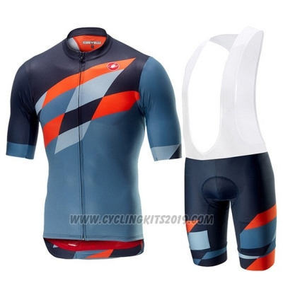 2019 Cycling Jersey Castelli Tabula Rasa Blue Orange Short Sleeve and Bib Short
