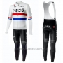 2019 Cycling Jersey Ineos Champion Uk White Long Sleeve and Bib Tight