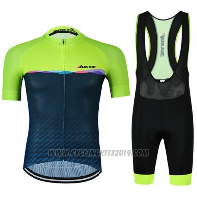 2019 Cycling Jersey Jokvie Green Dark Blue Short Sleeve and Bib Short