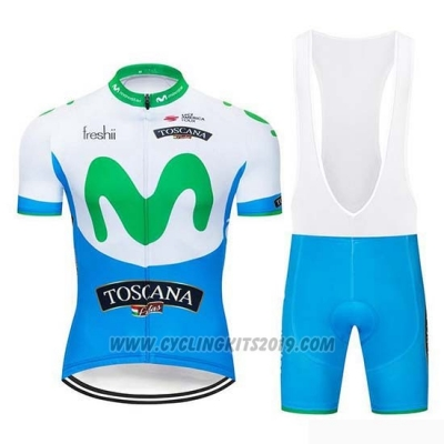 2019 Cycling Jersey Movistar Blue White Short Sleeve and Bib Short
