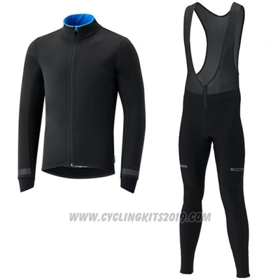 2019 Cycling Jersey Shimano Black Blue Long Sleeve and Bib Tight