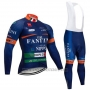 2019 Cycling Jersey Vini Fantini Blue Long Sleeve and Bib Tight