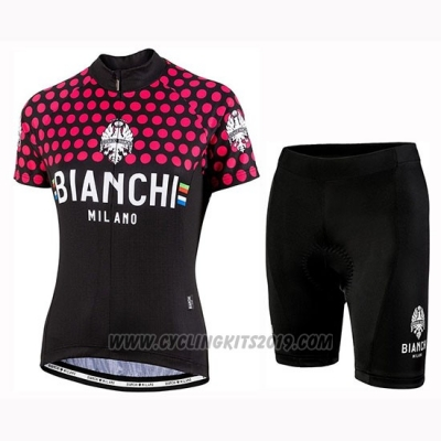 2019 Cycling Jersey Women Bianchi Dot Black Red Short Sleeve and Bib Short