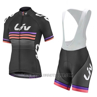 2019 Cycling Jersey Women Liv Black Fuchsia Short Sleeve and Bib Short