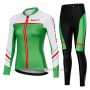 2019 Cycling Jersey Women Mieyco White Green Long Sleeve and Bib Tight