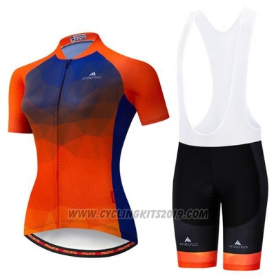 2019 Cycling Jersey Women Miloto Purple Orange Short Sleeve and Bib Short