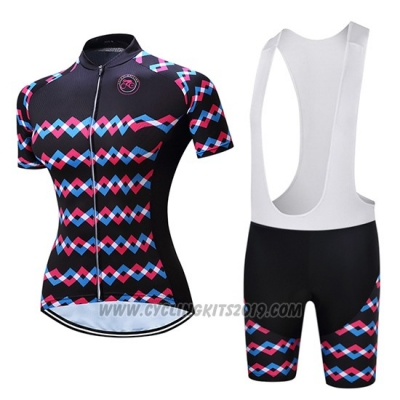 2019 Cycling Jersey Women Teleyi Purple Black Short Sleeve and Bib Short
