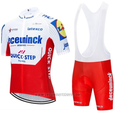 2020 Cycling Jersey Deceuninck Quick Step White Red Short Sleeve and Bib Short
