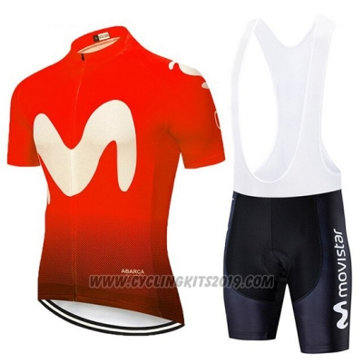 2020 Cycling Jersey Movistar Black Red Short Sleeve and Bib Short