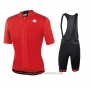 2020 Cycling Jersey Sportful Red Short Sleeve and Bib Short