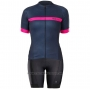 2020 Cycling Jersey Women Bontrage Fuchsia Dark Blue Short Sleeve and Bib Short