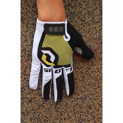 2020 Scott Full Finger Gloves White Black Yellow
