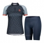 2021 Cycling Jersey Women Scott Gray Blue Short Sleeve and Bib Short