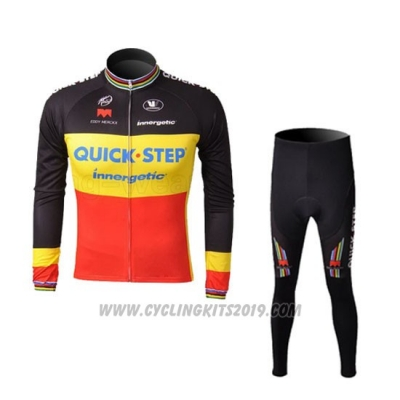 2010 Cycling Jersey Quick Step Campione Belgium Long Sleeve and Bib Tight