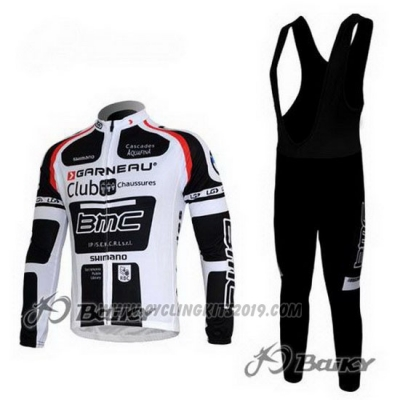 2011 Cycling Jersey BMC White and Black Long Sleeve and Bib Tight