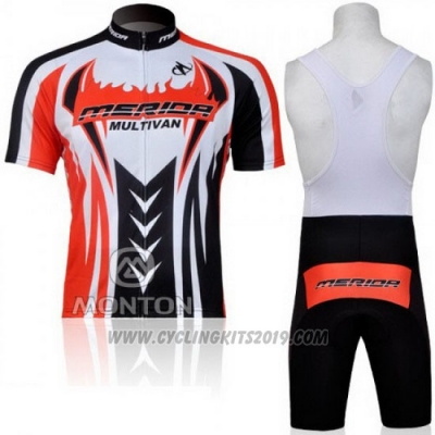 2011 Cycling Jersey Merida Black and Red Short Sleeve and Bib Short