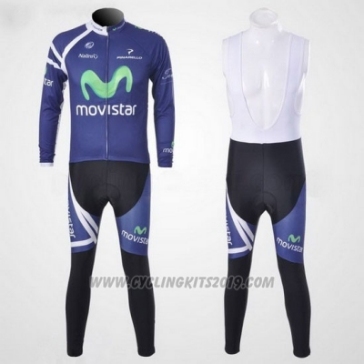 2011 Cycling Jersey Movistar Blue Long Sleeve and Bib Tight
