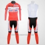 2012 Cycling Jersey Katusha White and Orange Long Sleeve and Bib Tight