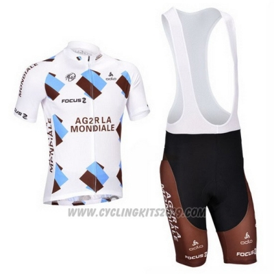 2013 Cycling Jersey Ag2rla Marron Short Sleeve and Bib Short