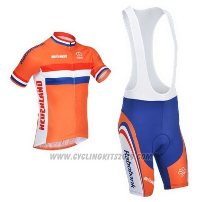 2013 Cycling Jersey Netherlands White and Orange Short Sleeve and Bib Short