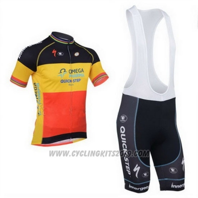 2013 Cycling Jersey Omega Pharma Quick Step Campione Belgium Short Sleeve and Bib Short