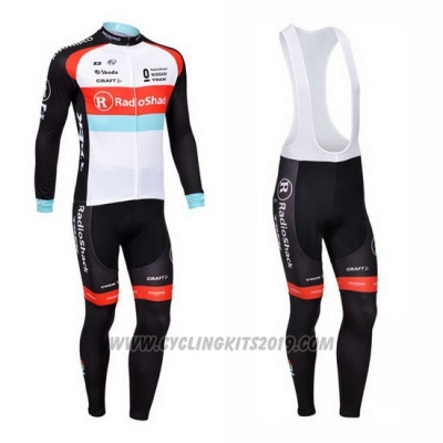 2013 Cycling Jersey Radioshack White and Black Long Sleeve and Bib Tight