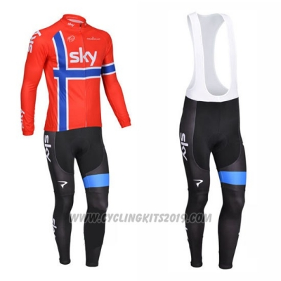 2013 Cycling Jersey Sky Campione Norway Blue and Red Long Sleeve and Bib Tight