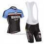2014 Cycling Jersey Bianchi Black and Blue Short Sleeve and Bib Short