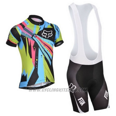 2014 Cycling Jersey Fox Sky Blue and Black Short Sleeve and Bib Short