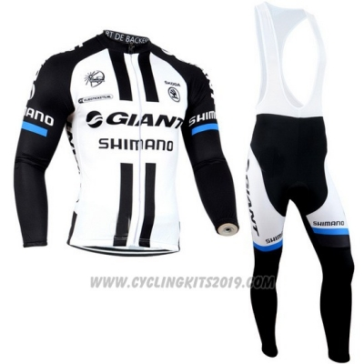 2014 Cycling Jersey Giant Shimano Black and White Long Sleeve and Bib Tight