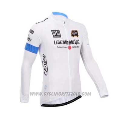 2014 Cycling Jersey Giro D'italy White Long Sleeve and Bib Tight