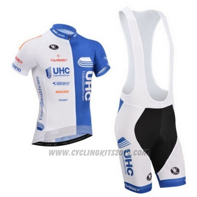 2014 Cycling Jersey UHC White and Sky Blue Short Sleeve and Bib Short