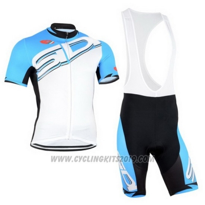 2015 Cycling Jersey Castelli SIDI Sky Blue and White Short Sleeve and Bib Short